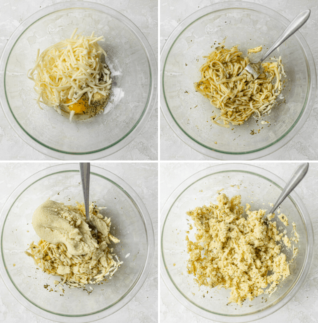 Process shots showing the mixture to make the crust starting with eggs, cheese and herbs and adding the cooked dried cauliflower