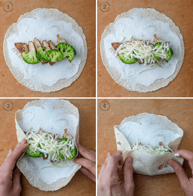 Step-by-step shots of making the broccoli wrap
