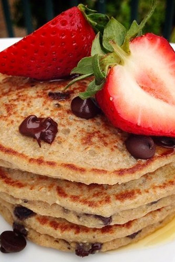 Chocolate Chip Banana Oat Pancakes made using oat flour instead of traditional all-purpose flour, for a gluten-free sweet variation for brunch. | Healthy Brunch | Breakfast Ideas | Healthy Pancakes | #pancakes #chocolate #brunch #breakfast #feelgoodfoodie