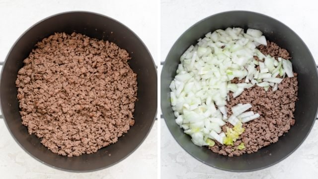 Collage of pot with ground beef and then onions getting added