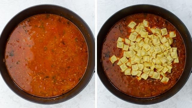 Collage of the ravioli soup once it simmered and then mini ravioli getting added on top