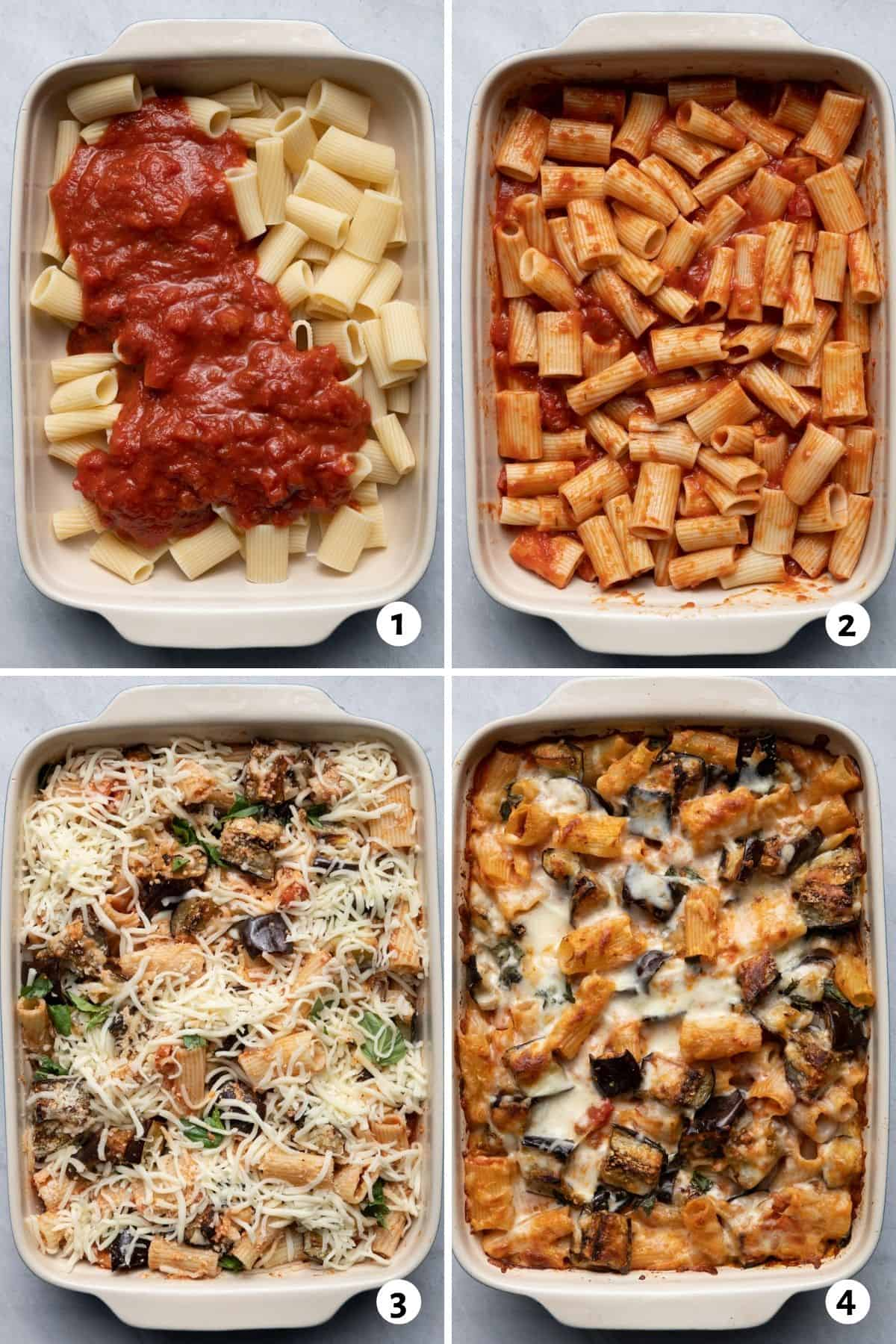 4 image collage to show how to assemble the casserole