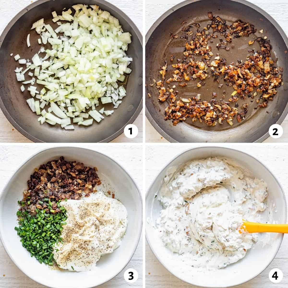 4 image collage showing how to make the recipe