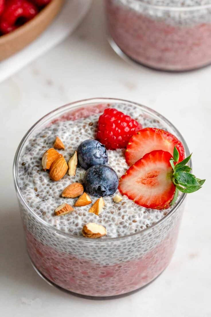 Two layers of chia pudding - strawberry on the bottom and plain on top