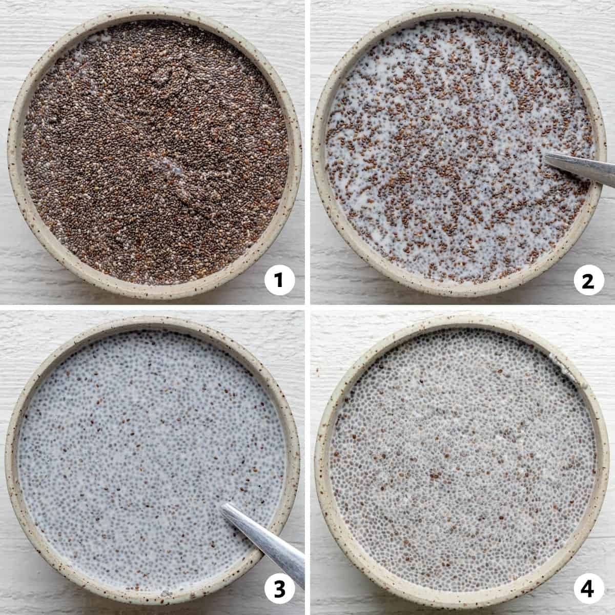 Four image collage for how to make chia pudding