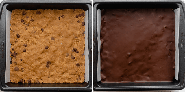 Cookie dough pressed into prepared pan, then chocolate added on top and cooled