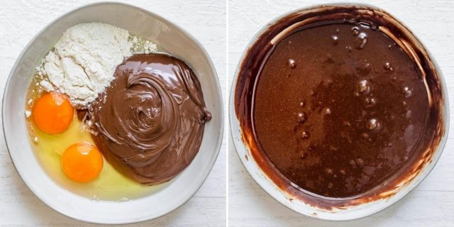 Collage of two images showing the ingredients for the mug cake before and after mixing