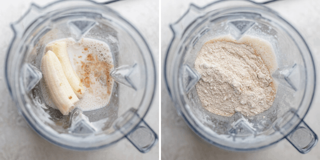 Mixing wet ingredients in blender, then mixing wet and dry ingredients together