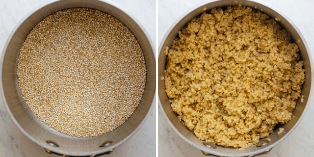 Process shots to show how to cook the quinoa