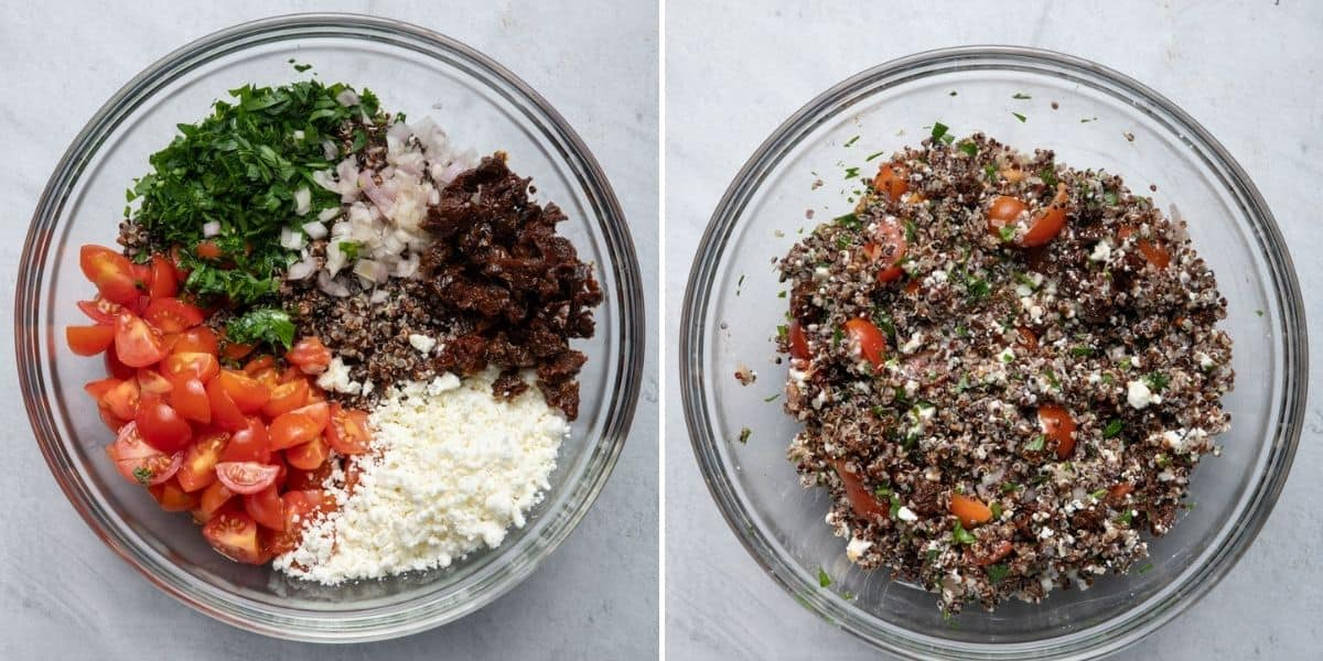 2 image collage showing the mixture before and after mixing