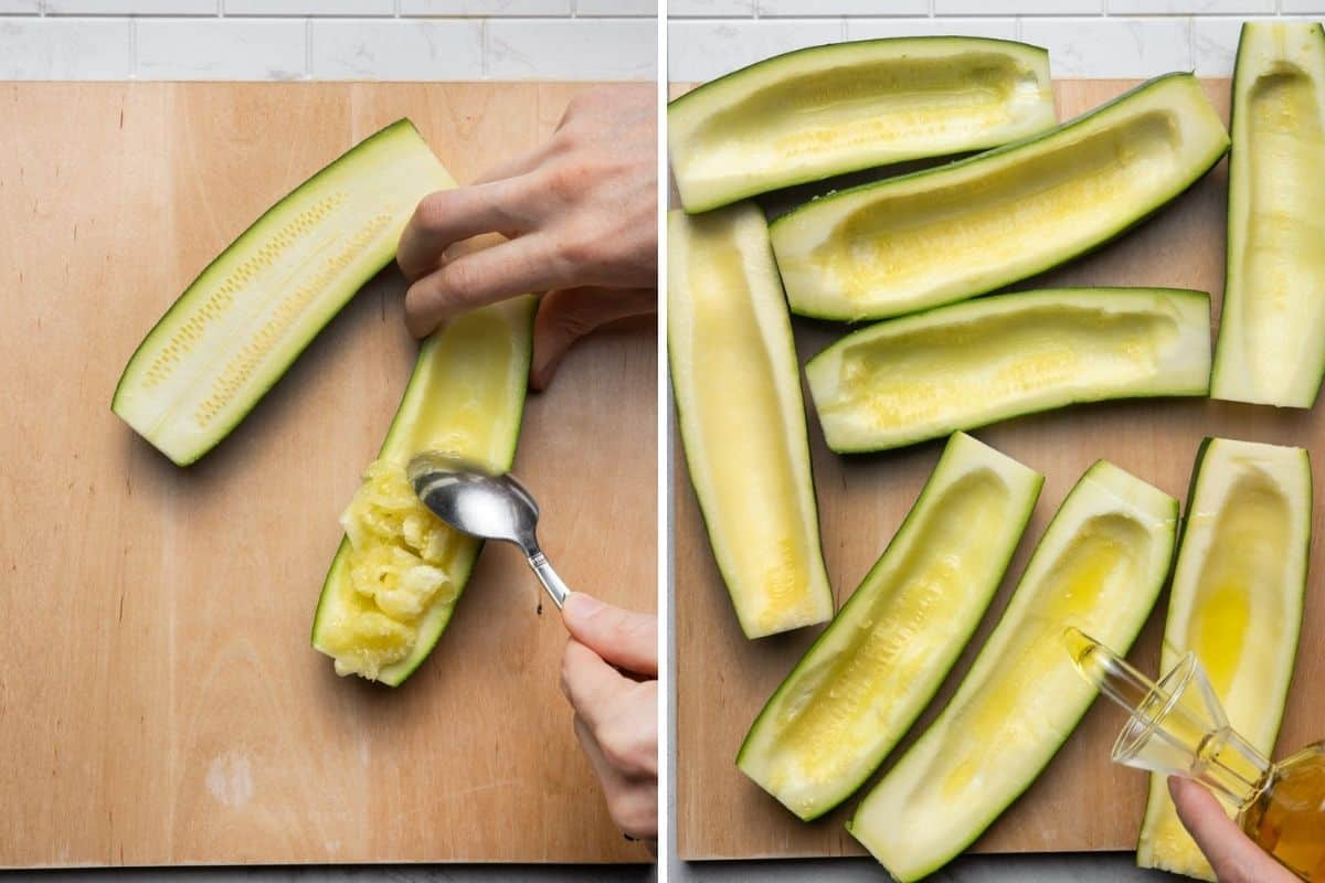 2 image collage showing how to scoop the zucchini interior and then adding olive oil to the zucchini