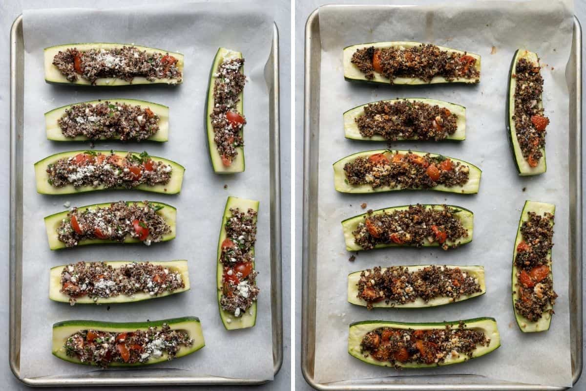 2 image collage to show the quinoa stuffed zucchini boats before and after cooking