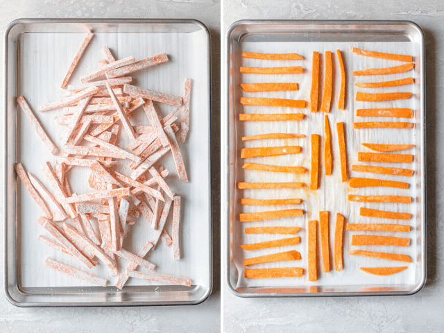 The sweet potato fries on a baking sheet before being cooked