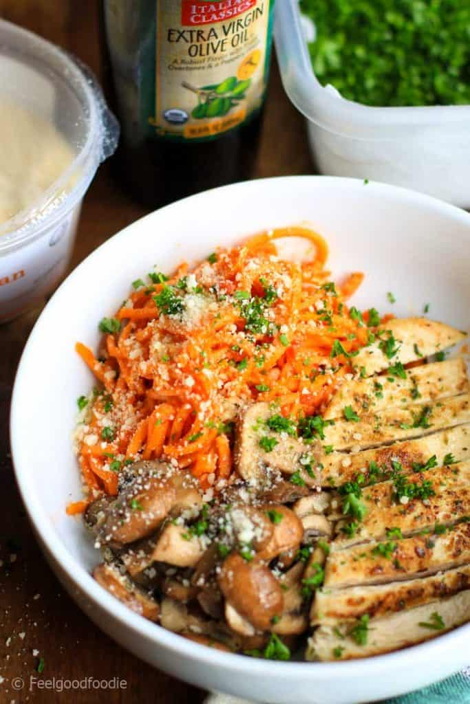 Delicious spiralized Sweet Potato Noodles with Grilled Chicken & Mushrooms in a bowl
