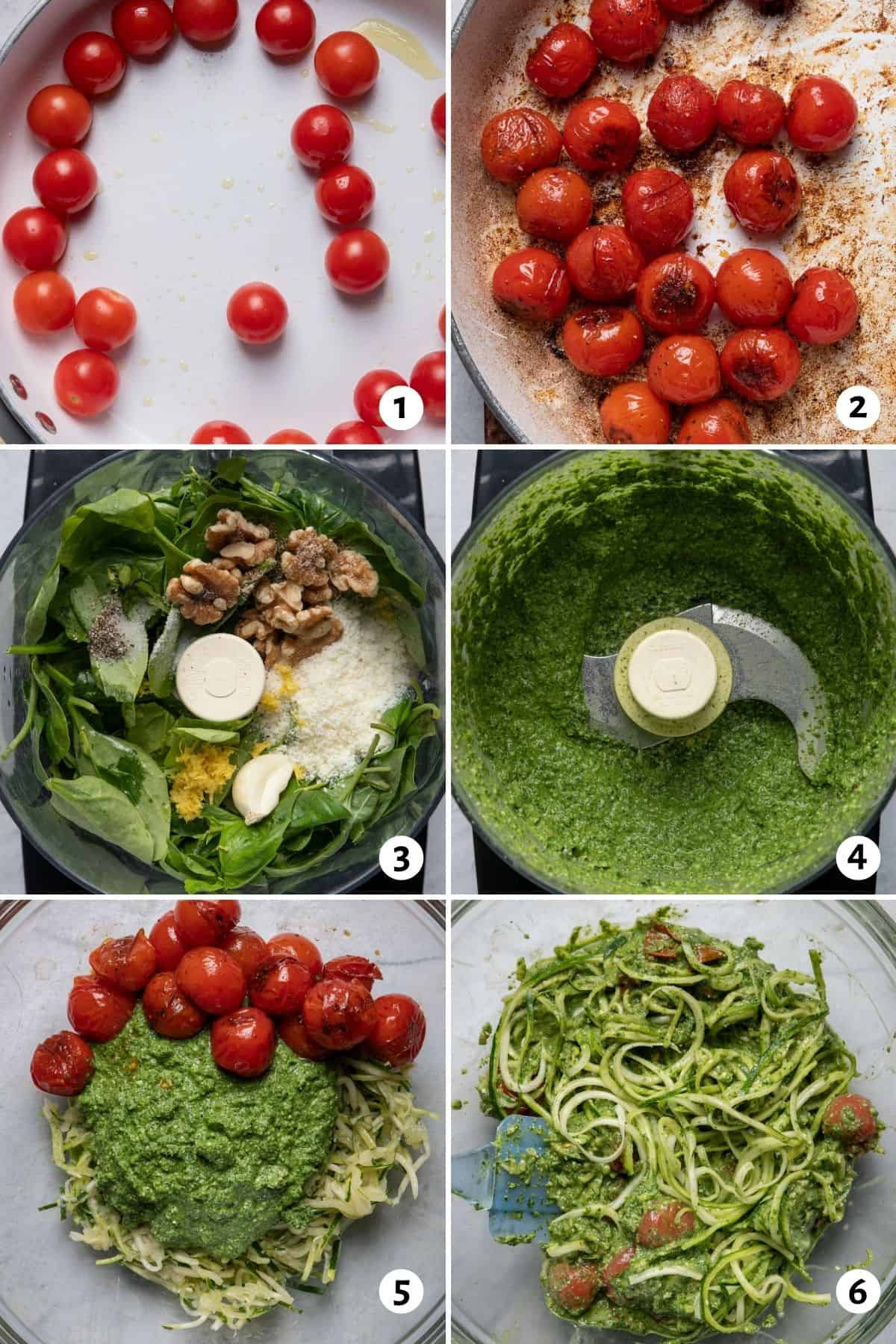 6 image collage to show how to cook the tomatoes, make the pesto and then assemble everything together