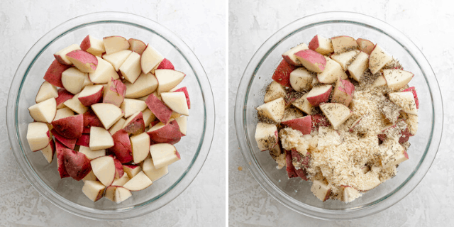 Collage of two images showing the bowl of cut red skin potatoes and then the garlic and parmesan added on top