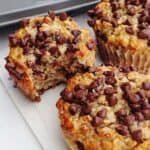 Gluten-Free Banana Chocolate Chip Muffins on a paper towel