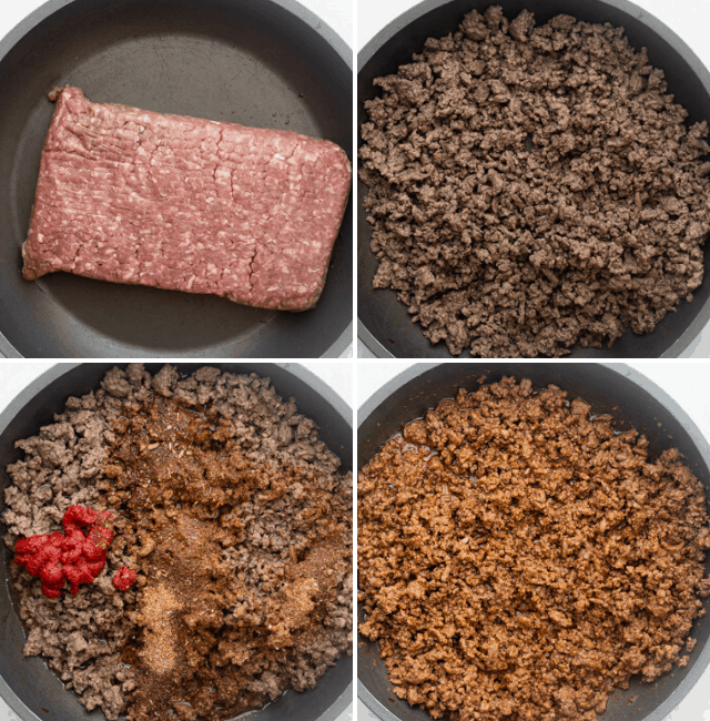 Step by step shots to show how to make the beef in a skillet