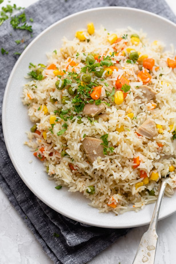 One serving of chicken and rice