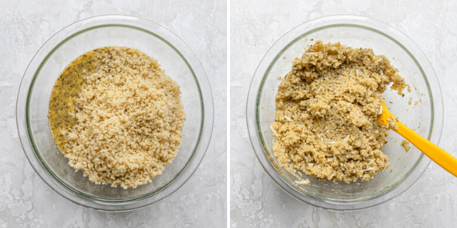 Process shots showing the ingredients in a bowl before and after mixing