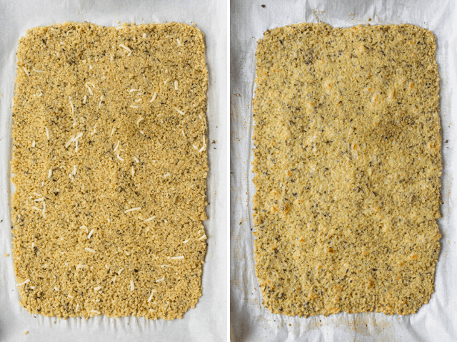 Process shots showing the mixture formed into a rectangular shape before baking and after baking