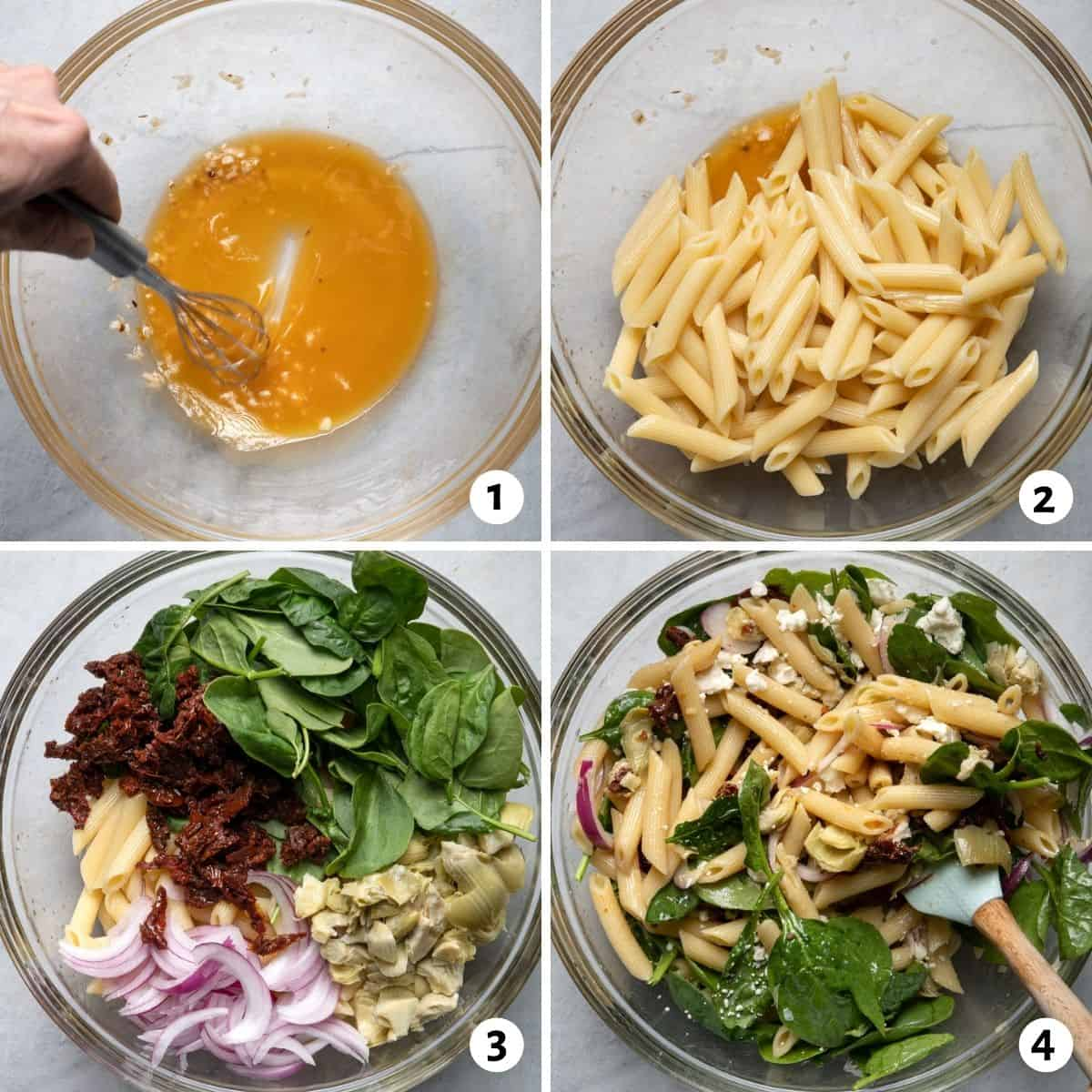 4 image collage to show how to make the pasta salad