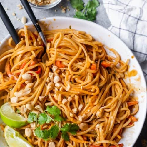 Asian Noodle Salad being served