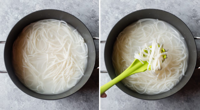 Collage of two images showing rice noodles after cooked in a pot and then in a slotted spoon