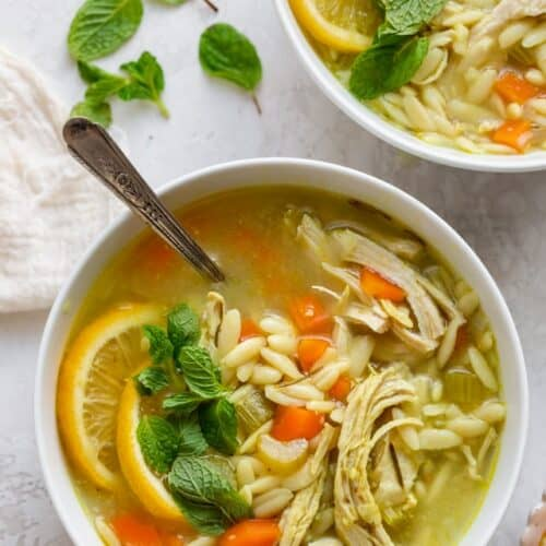 Large bowl of chicken lemon orzo soup garnished with mint