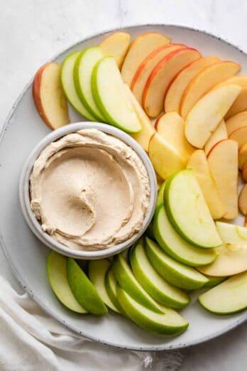 Peanut butter yogurt dip with apples
