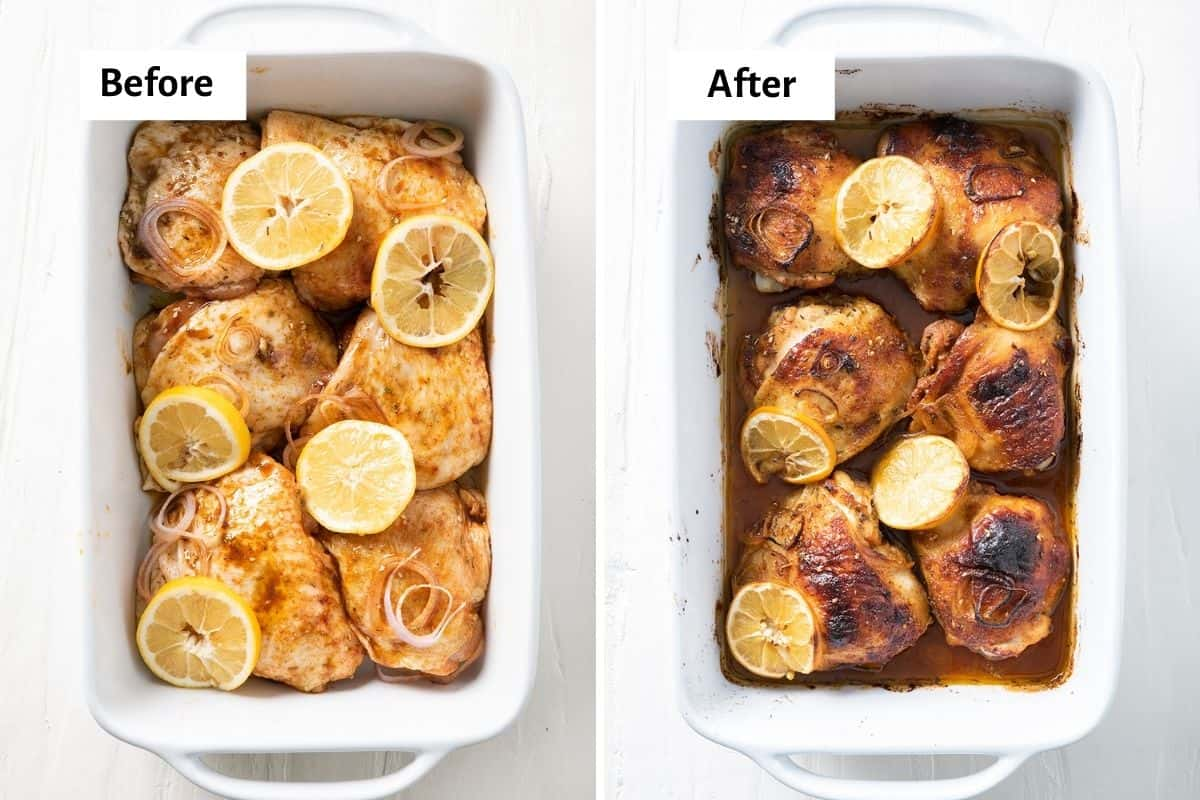 2 image collage to show the chicken on a baking dish before and after cooking