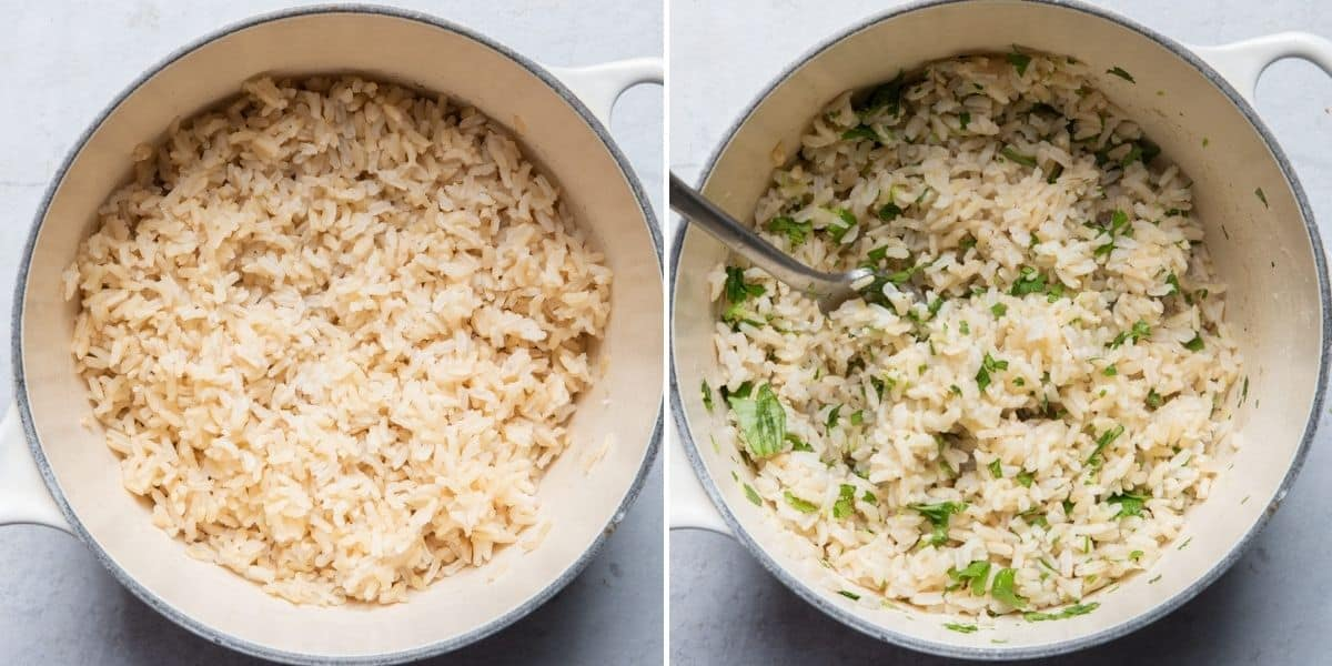 2 image collage to show how to cook the cilantro lime rice