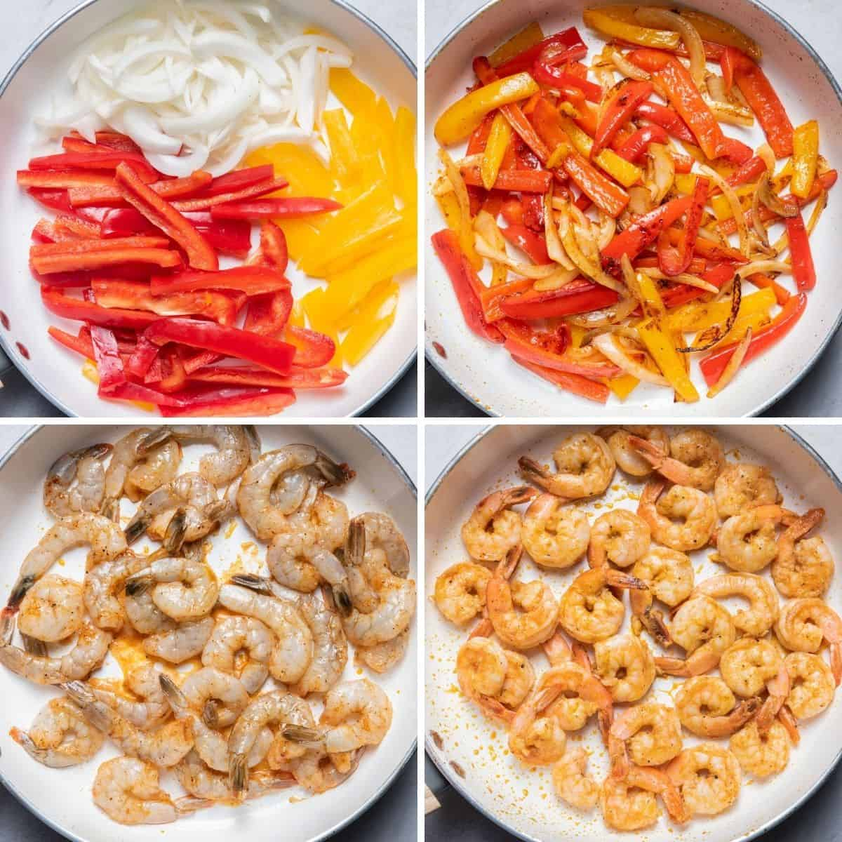 4 image collage to show cooking the peppers before and after they soften, and then cooking the shrimp before and after