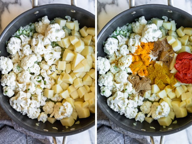 Collage of two images showing the vegetables in a skillet before and after the spices are added
