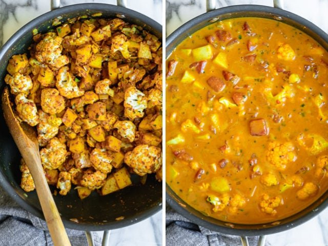 Collage of two images showing the sauteed cauliflower before and after the sauce is added