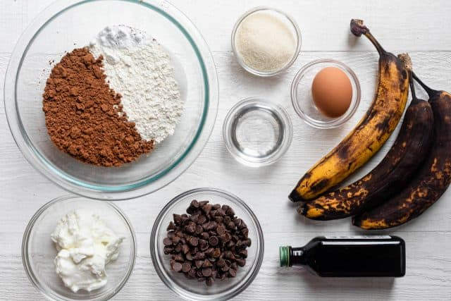 Ingredients to make the recipe laid out on white background