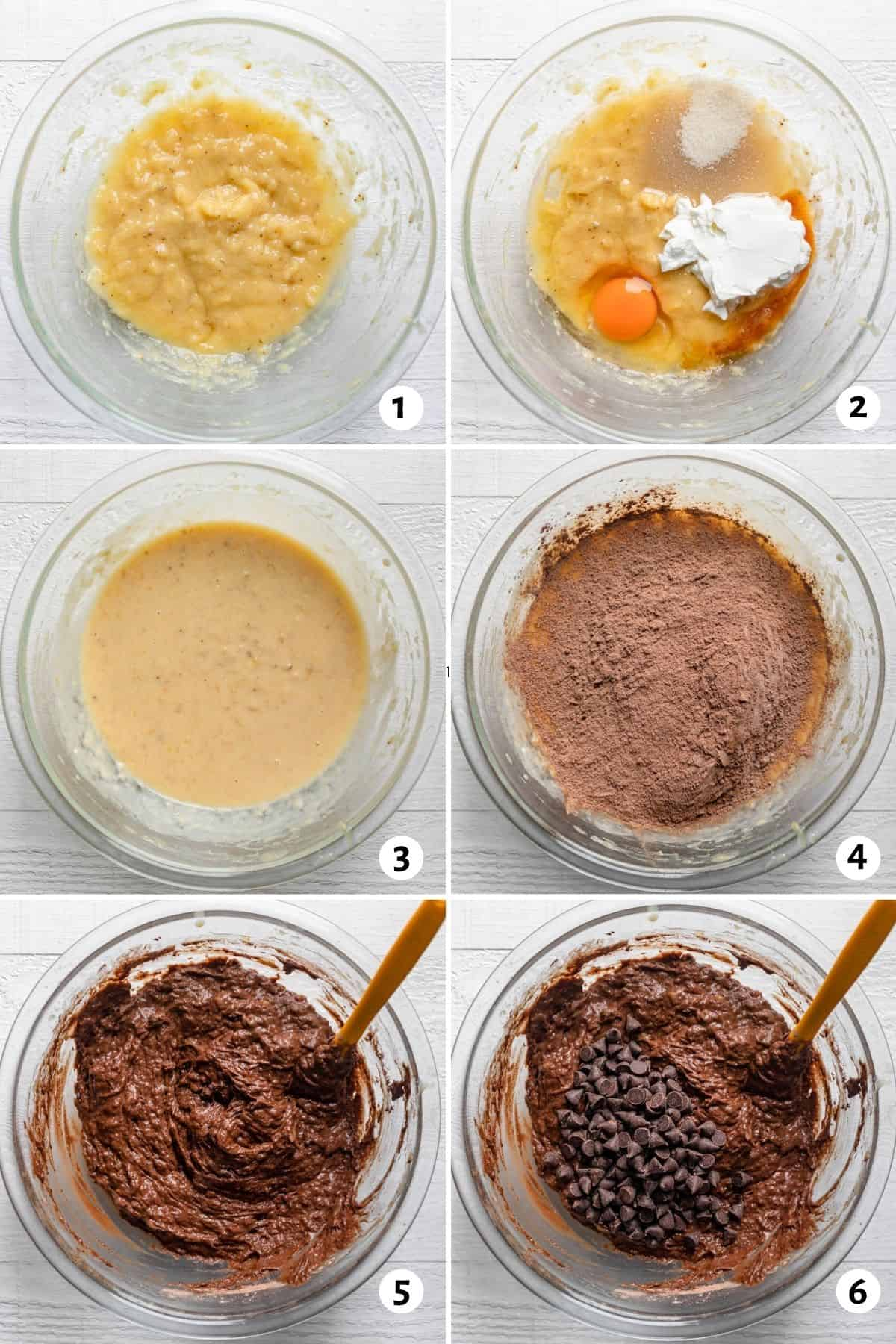 Steps for mixing the batter starting with the wet ingredients, then adding dry ingredients and chocolate chips