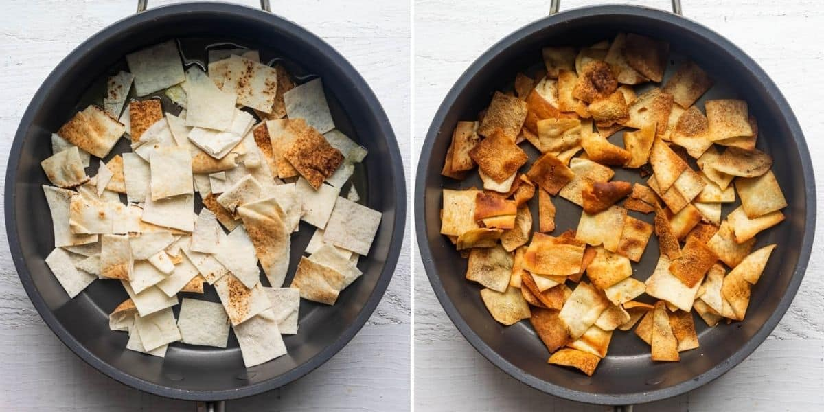 Two image collage to show the pita bread in a pan before and after frying