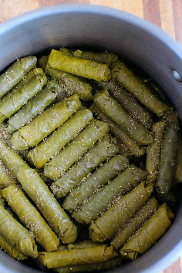 These Lebanese Stuffed Grape Leaves are made with a spiced ground beef and rice mixture - a delicious Mediterranean dish commonly served as an appetizer!