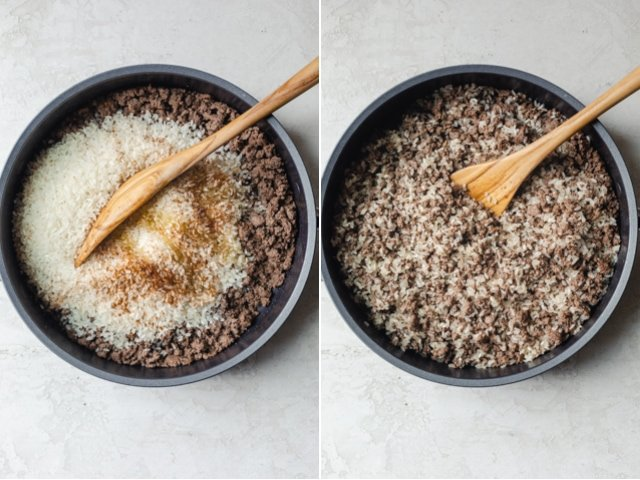 Collage of two images showing the stuffing before and after getting mixed