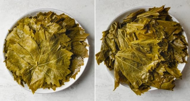 Collage of washed grape leaves before and after cutting the veins