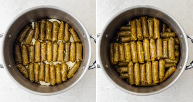 Collage of two images of grape leaves getting stacked in pot