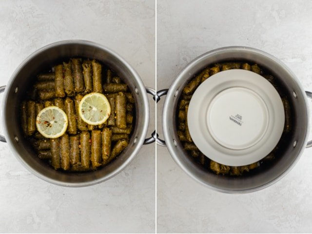 Collage of two images with grape leaves all piled and then small plate on top to apply pressure