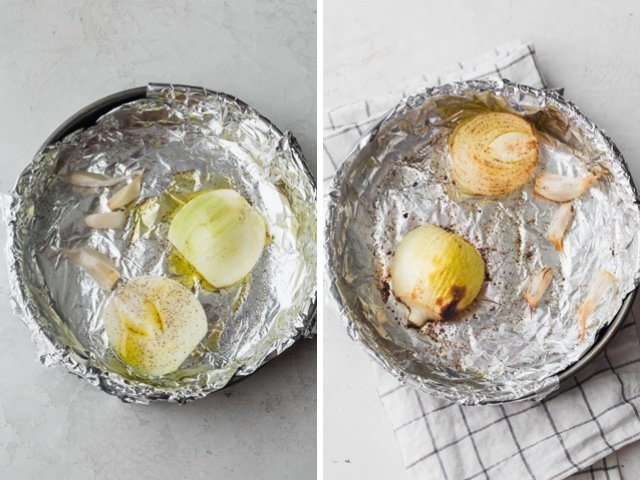 Collage of two images showing the onions and garlic before and after roasting