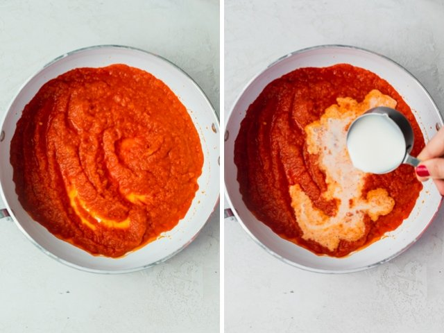Collage of two images showing large saute pan with the roasted red pepper sauce after blended and then with milk added to it