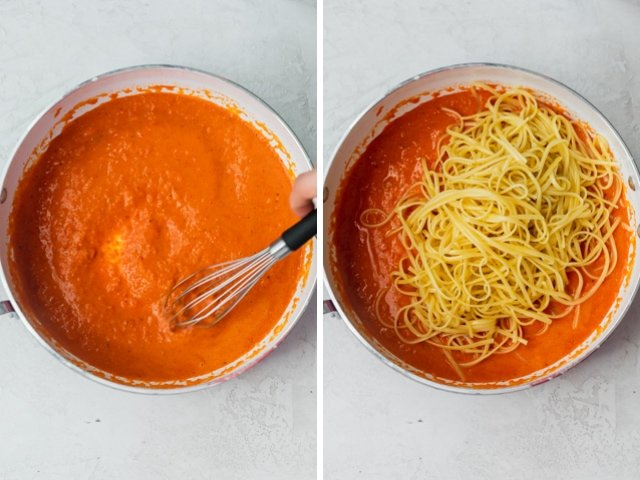 Collage of two images showing the roasted red pepper sauce before and after the pasta is added