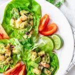Close up of Shrimp Avocado Salad served on butter lettuce