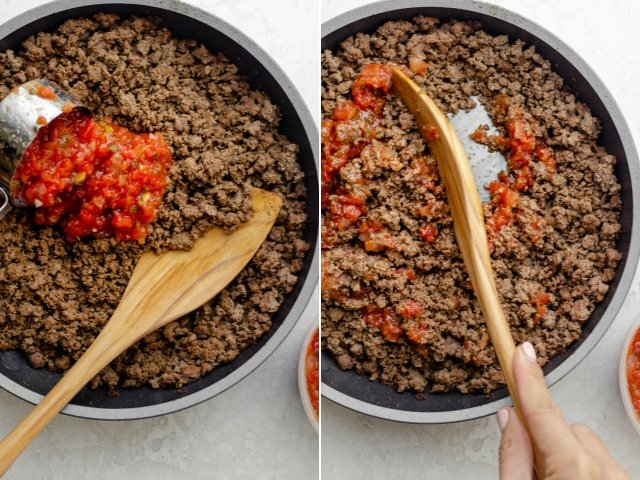 Collage showing two images of the ground beef with salsa getting poured in then salsa getting mixed in