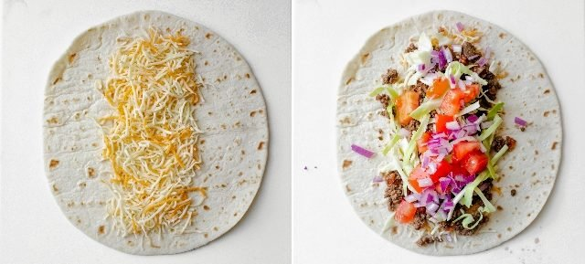 Collage of two images showing the tortilla first with just cheese, then the remaining ingredients