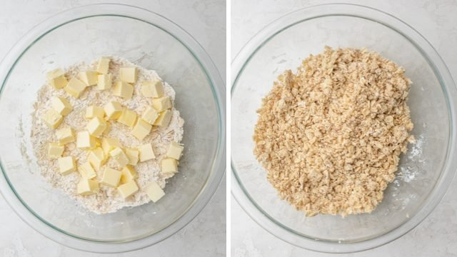 collage of butter in a bowl mixed into a flour